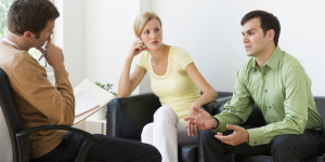 USA, New Jersey, Jersey City, Couple discussing issues during therapy